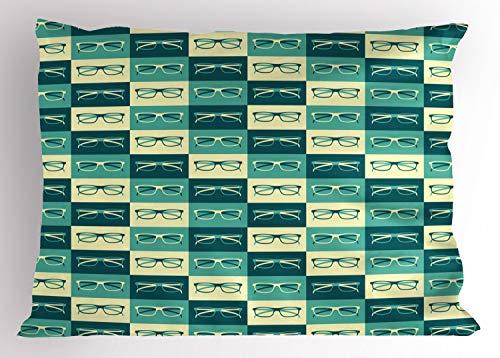 ABAKUHAUS Indie Kissenbezug, Vintage Brillen Cool, Dekorativer Standard King Size Gedruckter Kissenbezug, 90 x 50 cm, Benzinblau Türkis Creme