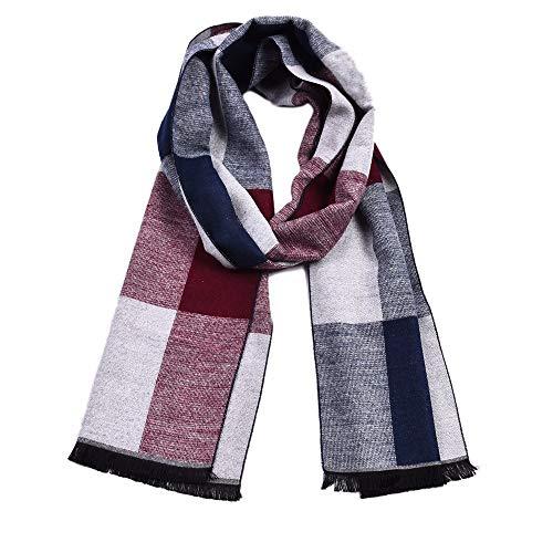 Xxszkaa-accessory sciarpa in finto cashmere uomo plaid/fiocco a strisce ispessito comfort sciarpa d'inverno caldo, bianco, 30 * 180cm