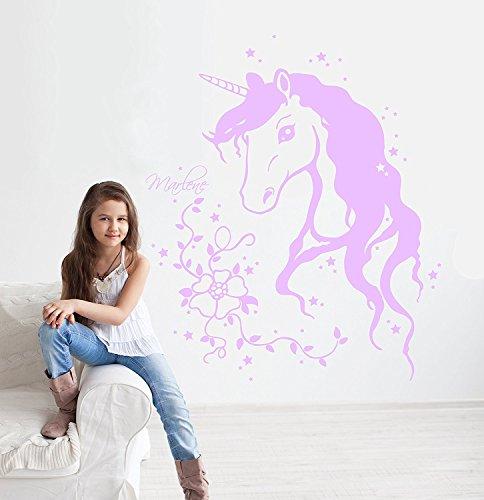 Ilka parey wandtattoo-welt adesivo da parete–mondo unicorno unicorno wandtat too con nome stelle viticcio fiori unicorni unicorn ragazza wandtat cameretta dei bambini m1291m1291(lilla)