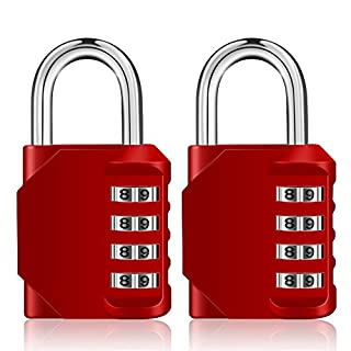 Combination Lock Set, 4 Digit Padlock, 2 Pack Combo Lock with Waterproof Design for Gym, School, Sport Locker, Toolbox and Storage (Red)