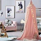 Frideko, letto a baldacchino per bebè, in cotone, dall'elegante stile nordico (altezza 240cm), con attrezzi per l'installazione e zanzariera, Cotone, rosa, 240 cm