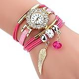 HUIHUI Uhren Damen, Geflochten Armbanduhren Günstige Uhren Wasserdicht Casual Analoge Quarz Uhr Luxus Armband Coole Uhren Lederarmband Mädchen Frau Uhr (Hot Rosa)