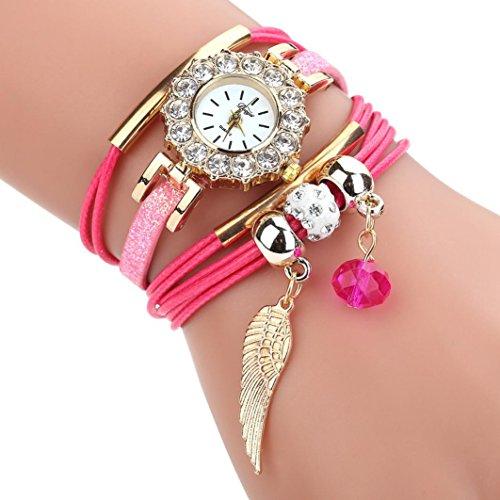 HUIHUI Uhren Damen, Geflochten Armbanduhren Günstige Uhren Wasserdicht Casual Analoge Quarz Uhr Armband Coole Uhren Lederarmband Mädchen Frau Uhr (Hot Rosa) - Uhrenarmbänder Mädchen Für