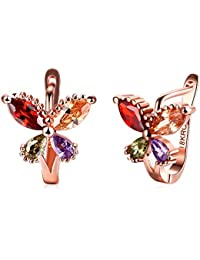 Yellow Chimes Flying Butterfly 18K Rose Gold Pated Swiss AAA Zircons Earrings for Women
