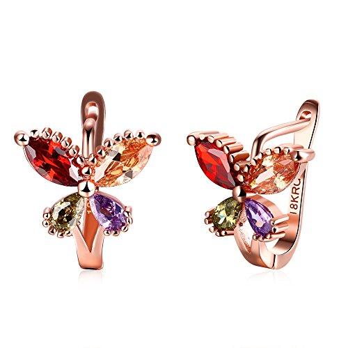 metterling Ohr Clip mit vier Farbe Diamant Rose Ohrstecker vergoldet (Halloween Argos)