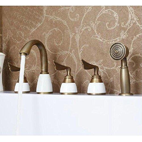 Galvanik Retro Wasserhahn Antik Kupfer Bad 3 Löcher 8 Becken Mode warme und kalte Badezimmer set HY-681, Weiß