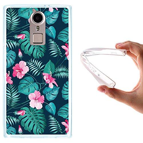 Doogee F5 Hülle, WoowCase Handyhülle Silikon für [ Doogee F5 ] Tropische Blumen 2 Handytasche Handy Cover Case Schutzhülle Flexible TPU - Transparent
