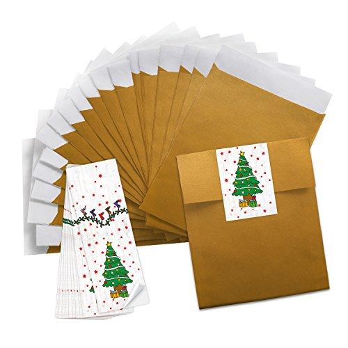 Logbuch-Verlag 10 kleine goldene Mini Papiertüten 13 x 18 cm + 25 Weihnachtsaufkleber grün weiß rot Weihnachtsbaum - Verpackung Papiertütchen Schmuckbeutel Weihnachten Give-Away Geld