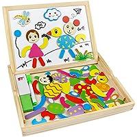 Puzzle Magnetico Juguete de Madera Pizarra Doble Cara Juego Rompecabezas para Niños 3 Años +