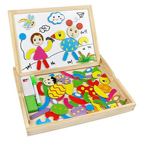 Lavagna Magnetica Legno Giocattoli Animali Jigsaw Puzzle Giochi Montessori per Bambini 3...