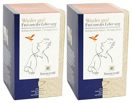 Sonnentor Tee Frei von der Leber weg - Wieder gut! Doppelkammerbeutel, 2er Pack (2 x 27 g) - Bio (Wieder Tee)