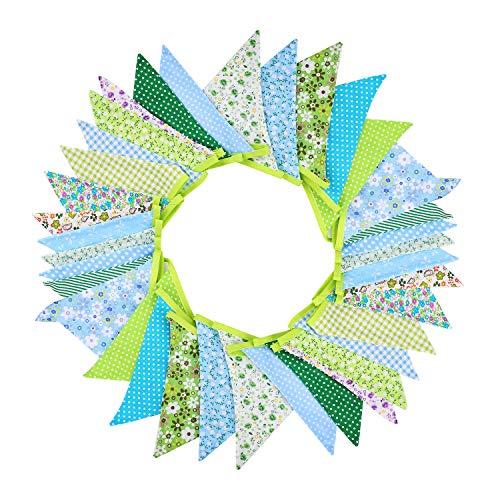 Urtone 36 banderas de tela Bandera Bunting, 10 metros / 33 pies Bandera de triángulo Guirnalda de doble cara Vintage tela Shabby Chic decoración de bodas Fiestas de cumpleaños (green)