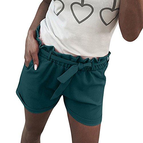 BURFLY Damen Übergrößen Shorts Frauen Plus Größe Solide Lose Hot Pants Taschen Lady Sommer Casual Shorts (S, Grün-A)