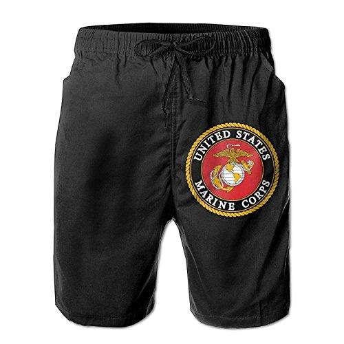 Funny&shirt USMC-Eagle Globe and Drawstring Swim Trunks Casual Beach Trunks for Men Large