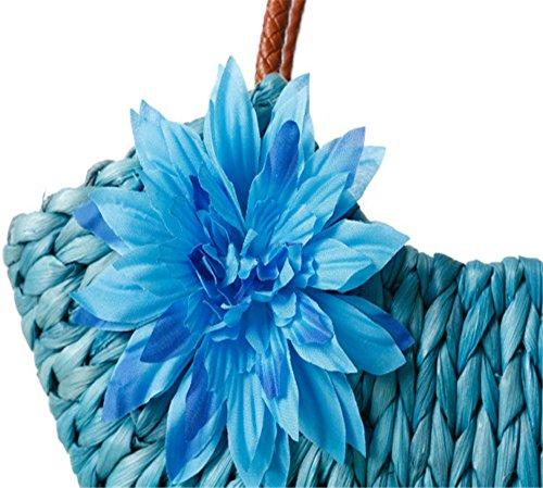 Femme Paille Fait Main Fermeture Éclair Sacs Bandoulière Sacs De Plage Sacs À Main, Marron Bleu