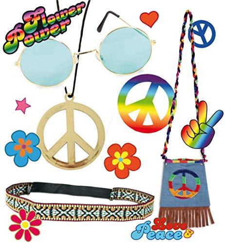 hör-Set Hippie 5-teilig Stirnband, Brille, Tattoos, Kette und Tasche mit Peace-Zeichen Flowerpower Accessoires ()