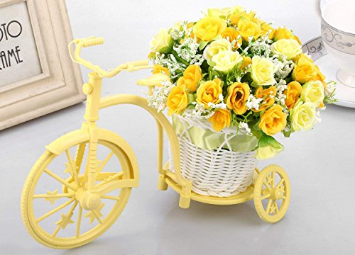Tied Ribbons Cycle Shape Flower Vase with Artificial Flower Bunch for Bedroom...
