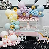 Party Propz Pastel Balloons Arch Decorations Garland Kit - 123Pcs Combo for Girls Boys Birthday Decoration/ Unicorn Theme/ Do