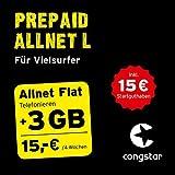 congstar Prepaid Allnet L Paket [SIM, Micro-SIM und Nano-SIM] – Das Prepaid-Paket für Vielsurfer in Bester D-Netz-Qualität