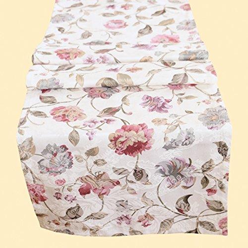 heimtexland moderne Landhaus Tischdecke Tischläufer 40x150 cm aus hochwertigem Jacquard in hell natur mit schönem Blumen Druck - Tischwäsche Country Chic Typ312 (Blumen Tischläufer)