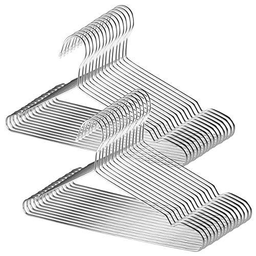 TUXWANG Kleiderbügel Set aus Edelstahl (18/10) 30 Stück, kleiderbügel metall silber, edelstahl-kleiderbügel, kleiderbügel edelstahl set, verblassen nicht -
