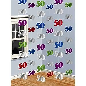 50e anniversaire guirlande chiffres 10 x 7 cm, Longueur 200 cm déco intérieure jubilé - guirlande anniversaire - déco d'anniversaire 50 - décoration d'anniversaire