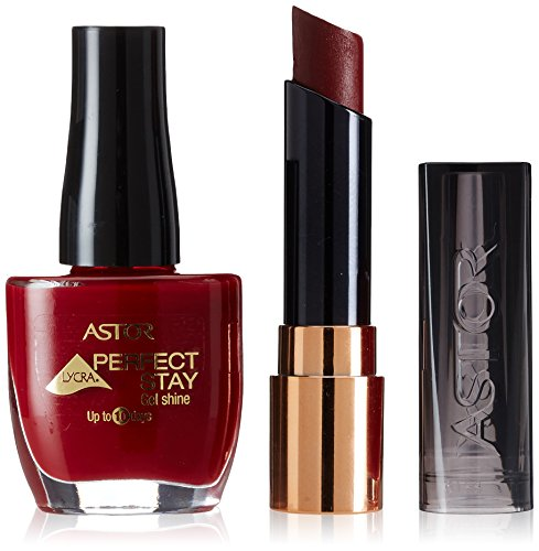 ASTOR Set Perfect Stay Fabulous Lippenstift, Farbe 503 Fiction red + gratis Gel Shine Nagellack, Farbe 305 Lacque, 1er Pack (1 x 16 g)