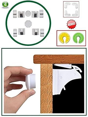 Emerald Tots Magnetic Baby Safety Cupboard Locks & Bonus Baby proof Kit (4+1 key)| Child, Infant, Baby Home Safety | Invisible Cupboard Support | Bonus Corner Protectors & Door Finger Safes (15-Piece