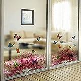 WEI Wandaufkleber Fenster Schiebetür Badezimmer mit Kunststoff Mattglas Film Bad Balkon Hortensie,Bild,Einheitsgröße