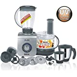 Inalsa Maxie Premia 800 Watts Food Processor With Complementary MakeMyKart Natural Rosewood Sheesham Hand Made Wooden Cooking And Serving Set - Pack Of 5