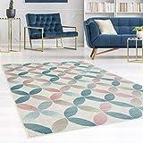 carpet city Teppich Flachflor Inspiration mit Geometrischen Muster, Marokkanischer-Stil mit Pastellfarben, Blau, Rosa, Creme, Beige für Wohnzimmer, Größe: 80x150 cm