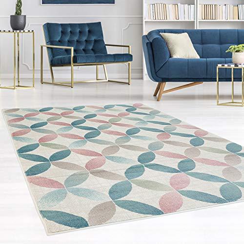 carpet city Teppich Flachflor Inspiration mit Geometrischen Muster, Marokkanischer-Stil mit Pastellfarben, Blau, Rosa, Creme, Beige für Wohnzimmer, Größe: 160x230 cm -