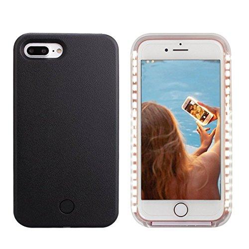 iPhone 8 Plus LED Coque - Avkkey iPhone 8 Plus Selfie Light iPhone Coque Idéal pour Prises de Selfie et FaceTime Lumineux Light Up Coque pour iPhone 7 Plus 5.5'' - Noir