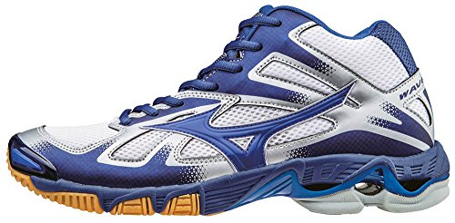 Mizuno Wave Bolt Mid, Chaussures de Volleyball Homme, Bleu Bianco (White/Dazzlingblue/Twilightblue)
