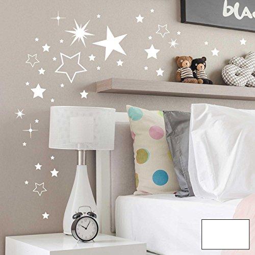 ilka parey wandtattoo-welt® Wandtattoo Wandbild Wandaufkleber Wandsticker Aufkleber Sticker Sternenset Sterne 180 Stück M2030 - ausgewählte Farbe: *weiß*