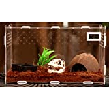 Zhhlaixing Fournitures pour animaux Transparent Durable Pets Amphibian Spider Habitat Cage Set Carry House with Temperature Display