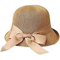 RUIJIJ For Mujer Del Sombrero De Paja De Sun Pescador Sombrero De Ala Ancha UPF 50 Del Sombre Plegables Enrollables Floppy Sombreros De La Playa For Las Mujeres Avellana Amarillo De Protección Solar T