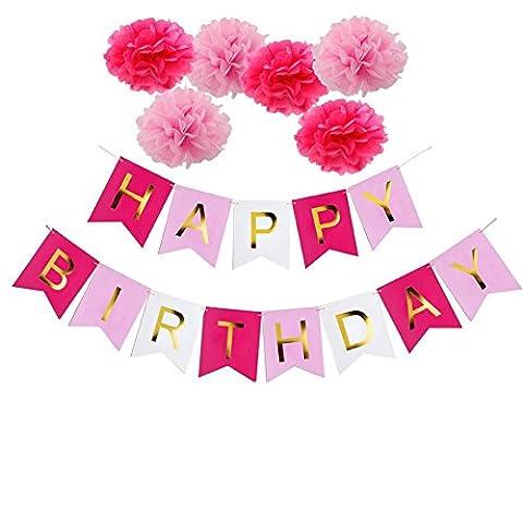Ailiebhaus Happy Birthday Deko-Set Flaggenkette Banner,Girlande Quasten Seidenpapier Pompons Rosa Pompoms für Geburtstag Dekoration