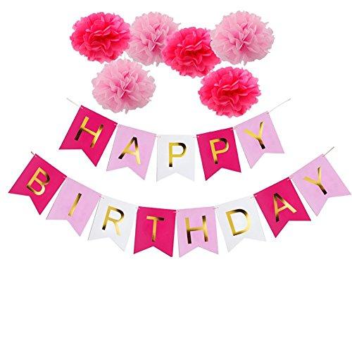 Ailiebhaus Bannières Anniversaire Guirlande fanions Pompons Papier pour Happy Birthday Décorations (Multicolor) 6139382790705