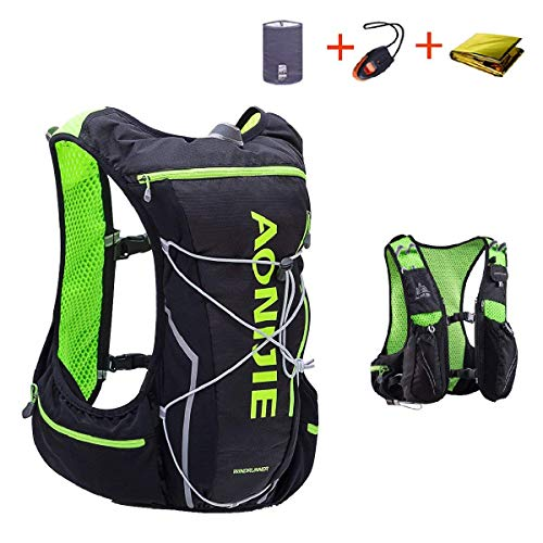TRIWONDER Hydration Pack Backpack 10L Deluxe Race Race Hydration Vest Mochilas all\'aperto per Marathon Running Cycling Hiking (Black & Green - Solo Gilet, L-XL)