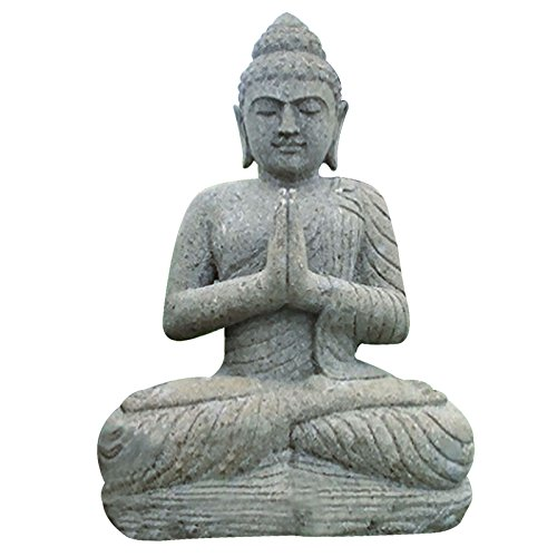 Steinfigur Buddha sitzend 100cm betend Buddhafigur Gartenfigur Basanit Feng Shui