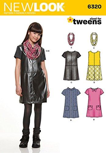 -10-12-14-16vorpubertären Schnittmuster 6320Mädchen Kleid oder Pullover und Schal, mehrfarbig ()