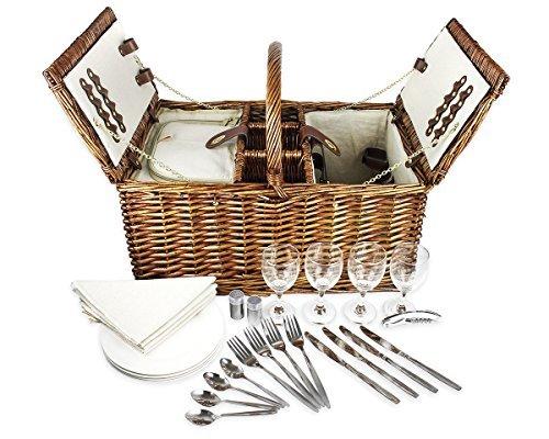Classic Picknickkorb, für vier vollständig geladen-inkl. Besteck, Gläser, und Zubehör ()