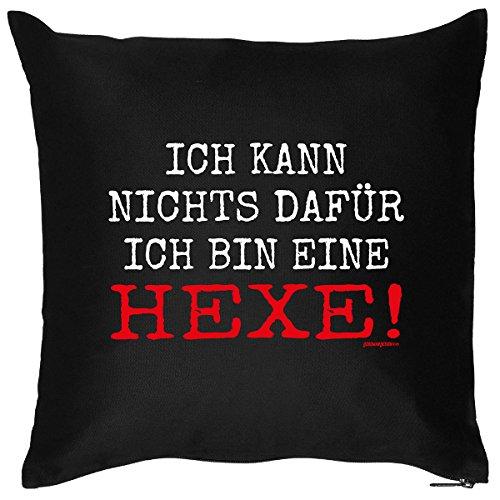 Gruselige Hexe Kostüm - Gruseliges Halloween Fun Kissen mit Füllung: Ich bin ein Hexe! -Dekokissen/Couchkissen - Goodman Design ®