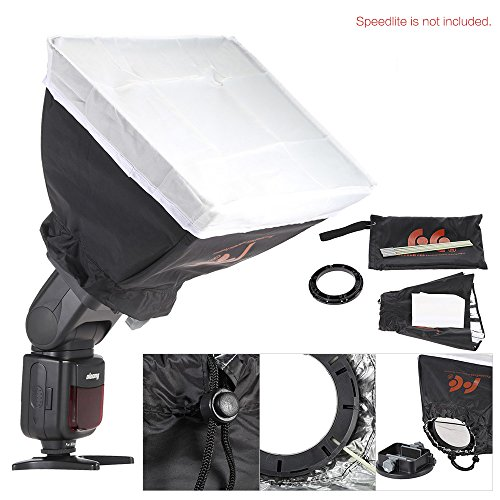 Andoer 9 in 1 Speedlite Zubehör Kit mit Universal-Mount-Adapter / Barndoor / 20 * 30cm Softbox / 2 Honeycombs / Mini Reflektor / konische Snoot / Diffusor Ball / 4 Color Filter