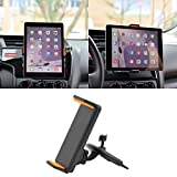 Housse Support Dairy Boutique 360Rotation Voiture CD Mount Support Stand pour iPhone iPad Samsung LG Xiaomi Huawei Smart Phone GPS Tablet Tablette 4–10', ABS, Noir et Orange, 1Set