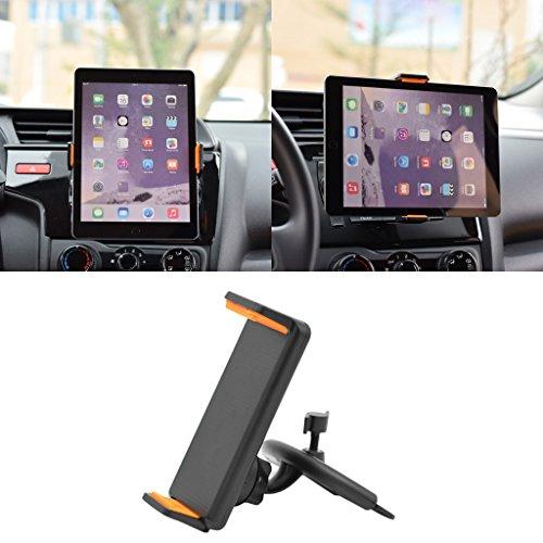Handyhalter Dairyshop 360 drehende Auto CD Mount Halter Stand für iphone ipad Samsung LG Xiaomi Huawei Smart Phone GPS Tablet Tablette 4-10 Zoll, ABS, schwarz und orange, 1 Set (Monitor Kopfstütze Ipad)