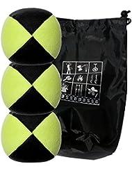 Conjunto de 3 bolas de malabares malabarismos con Flash Pro amarillo / negro (4 caras) en la bolsa de terciopelo completa