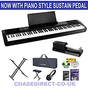 Casio CDP-130 Digital Piano Deluxe Bundle By Chase With Foldable Stand