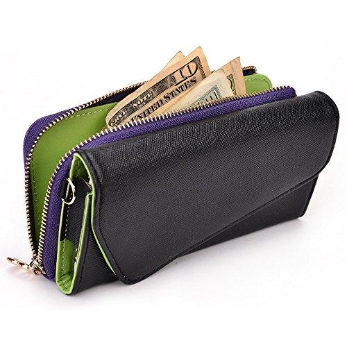 Kroo d'embrayage portefeuille avec dragonne et sangle bandoulière pour Prestigio MultiPhone 5300Duo Black and Green Black and Purple